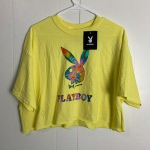 Playboy Cropped Tie Dye Bunny Shirt - NWT